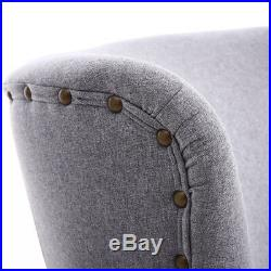 Occasional Padded Orthopedic Wing High Back Armchair Fabric Tub Chair +Footstool