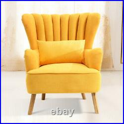 Occasional Velvet Armchair Scalloped Wing Back Chair Lounge Sofa Cushioned Seat
