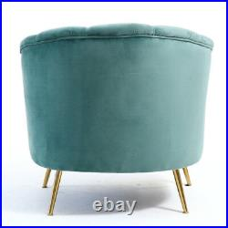Occasional Velvet Armchair Sofa Wing Scallop Back Tub Chair with Metal Gold Leg