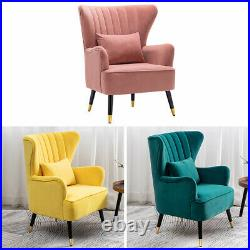 Occasional Velvet Armchair Wide Wing Back Tub Chair Lounge Sofa ClubSeat+Cushion