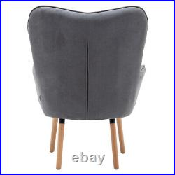 Occasional Velvet Button Wing Back Armchair Lounge Chair Sofa with Footstool Grey