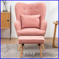 Occasional Velvet Button Wing Back Armchair Lounge Chair Sofa with Footstool Set