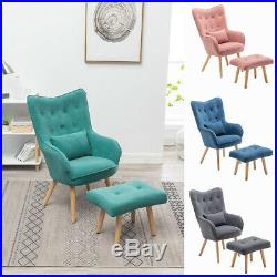 Occasional Velvet Button Wing Back Armchair Lounge Tub Chair Sofa with Footstool
