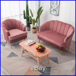 Occasional Velvet Fabric 1 or 2 Seater Sofa Wing Shell Tub Chair Armchair Couch