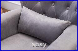 Occasional Velvet Fabric Flocking Armchair Accent Wing Chair Sofa Fireside Seat