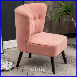 Occasional Velvet Pink Wing Back Armchair Living Bedroom Cafe Chair Sofa Button