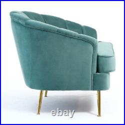 Occasional Velvet Wing Back Armchair Oyster Scalloped Chair Lounge Nordic Sofa
