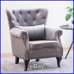 Occasional Velvet Wing Back Fireside Button Back Armchair Sofa Lounge Chair