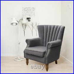 Occasional Wing Chair High Back Stud Fabric Tub Living Room Grey Armchair Lounge