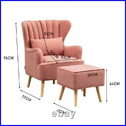 Occasional Wing Chair Matte Velvet Tub Armchair Fireside Sofa with Footrest Lounge