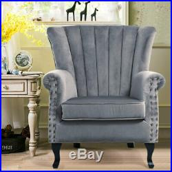 Occasional Wing High Back Chair Velvet Fabric Armchair Living Room Lounge Sofa