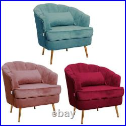 Occasional Winged Accent Shell Velvet Armchair Lounge Chairs 1 Seater Sofa Seats