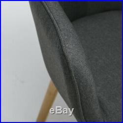 Occasional Winged Fabric Armchair And Footstool Accent Button High Back Chair UK
