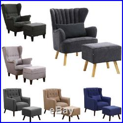 Orthopeadic Velvet Fabric Armchair with Footstool Sofa Wing Button Chair Lounge