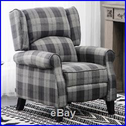 Orthopedic Occasional Recliner Armchair Sofa Tartan Checked Lounge Winged Chair