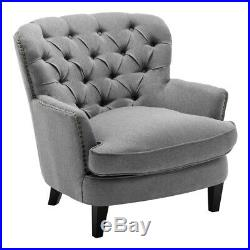 Orthopedic Upholstered Chesterfield Sofa Armchair Wing Back Chair Studded Button