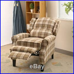 Oversized Fabric Recliner Armchair Sofa Lounge Relax Reclining Wing Back Chair