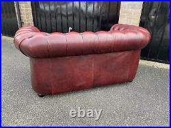 Oxblood leather Chesterfield wing chair and 2 seater sofa