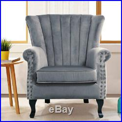 Padded Large Seats Sofa Velvet Home Reception Relax Sofa Wing Back Armchair Sofa