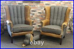 Pair Harris Tweed & Brown Cerato Aniline Leather Wing Fluted Chairs Uist Night