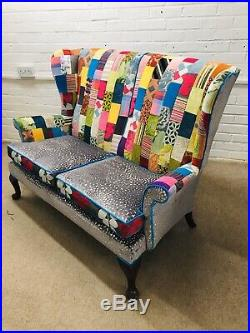 Parker Knoll 2 Wing back chairs And 2 Seats Sofa Upholstered In Patchwork Design