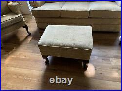 Parker Knoll 3 Seater Sofa and 2 Winged Back Arm Chairs With Foot Stool