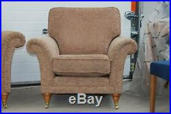 Parker Knoll, Burghley Large 2 Seater Sofa, Armchair & Wing Chair, Beige Fabric