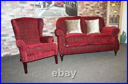 Parker Knoll Westbury 2 Seater Sofa & Regency Wing Chair In A Berry Red Fabric