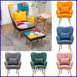 Patchwork Linen Fabric/Velvet Winged Armchair Accent Chair Lazy Sofa Footstool