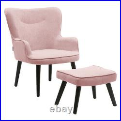 Pink Teddy Seat Armchair Wing Back Smile Face Lounge Chair Velvet Sofa Footstool