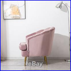 Pink Upholstered Velvet Wing Back Chair Scallop Shell Back Armchair Sofa Couch