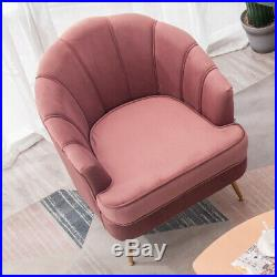 Pink Velvet Armchair Scallop Wing Back Chair Fireside Sofa or Ottoman Footstool