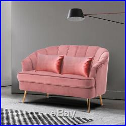 Pink Velvet Fabric 1+2 Seater Sofa Set Wing Shell Armchair Tub Couch Sofa Chair
