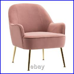 Pink Velvet Lounge Chair Tub Accent Wing Back Armchair Bedroom Living Room Sofa