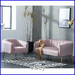 Pink Velvet Scalloped Wing Back Armchair 2 Seater Sofas Cocktail Shell Tub Chair
