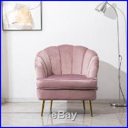 Pink Velvet Shell Wing Chair Occasional Lounge Seat Sofa Accent Tub Armchair NEW