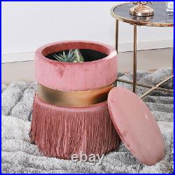 Pink Velvet Sofa Armchair Scallop Wing Back Tub Dressing Chair Ottoman Footstool