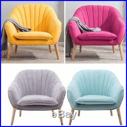 Plush Fabric Wing Ribbed Back Armchair Tub Chair Bucket Relax Lounge Seat Sofa