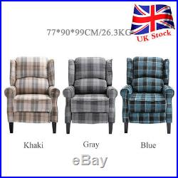 Pushback Recliner Fireside Reclining Armchair Footrest Wing Chair Sofa Seat Home