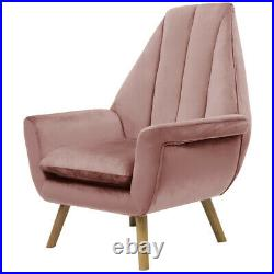 Pyramid High Back Armchair Chesterfield Wing Back Chair Blush Pink Velvet Sofa