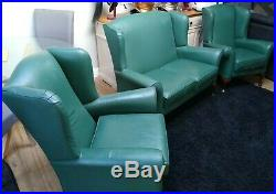 RARE leather Parker knoll wing back suite sofa & arm chairs Queen Ann set 2+1+1