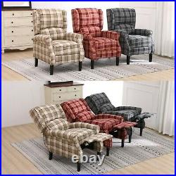 REFURBISHED Fabric Tartan Check Wing Recliner Upholstered Armchair Sofa Chair