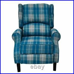 Recliner Armchair Wing Back Check Fabric Sofa Chair Lounge Home Theater Seating
