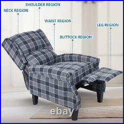 Recliner Armchair Wing Back Fireside Check Fabric Sofa Lounge Cinema