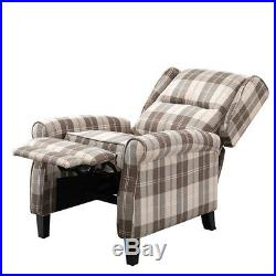 Recliner Armchair Wing Back Fireside Check Fabric Sofa Lounge Cinema Chair Beige