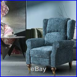 Recliner Armchair Wing Back Fireside Check Fabric Sofa Lounge Cinema Chair Blue