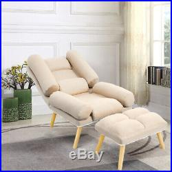 Recliner Armchair Wing Back Fireside Linen Fabric Lounge Sofa Chair with Stool