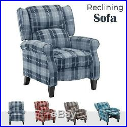 Recliner Armchair wing back Reclining Sofa Chair Fabric Lounge Cinema Chair