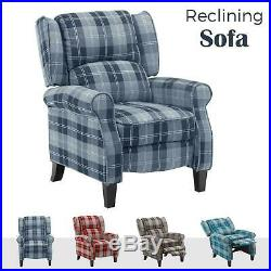 Recliner Armchair wing back footrest Reclining Sofa Chair Fabric Lounge Cinema
