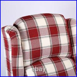 Red Vintage Check Recliner Lounge Chair Armchair Sofa Wing Back Fabric Fireside